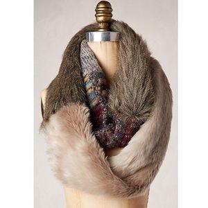 Anthropologie Miru Faux Fur Knit Infinity Scarf